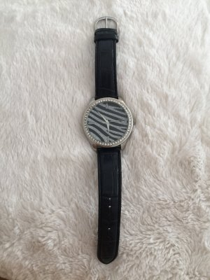 Claires Watch With Leather Strap silver-colored-black leather