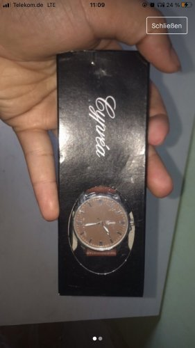 Atlas for women Reloj con pulsera de cuero marrón