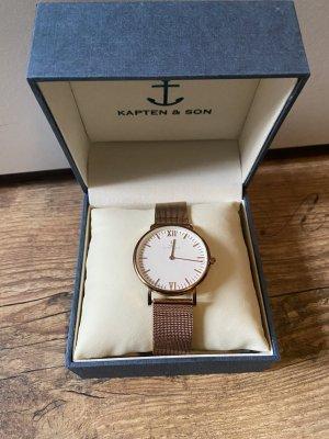 Kapten & Son Reloj analógico blanco-color rosa dorado