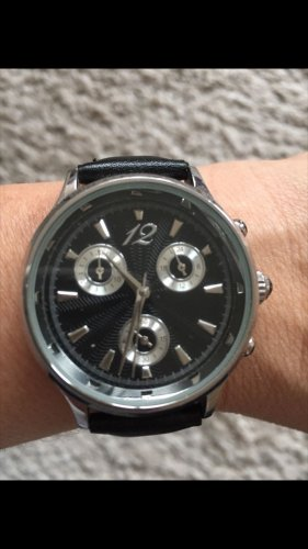 TCM Watch With Leather Strap black-silver-colored
