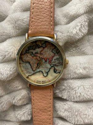 Zegarek ze skórzanym paskiem złoto-stary róż