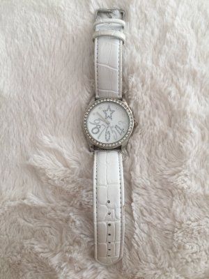 Claires Watch With Leather Strap silver-colored-white