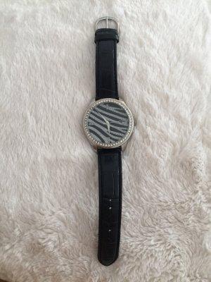 Claires Zegarek ze skórzanym paskiem srebrny-czarny Skóra