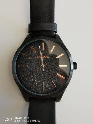 Oozoo Reloj con pulsera de cuero negro