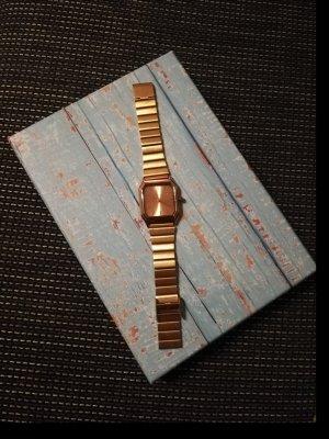 Amisu Horloge met metalen riempje brons