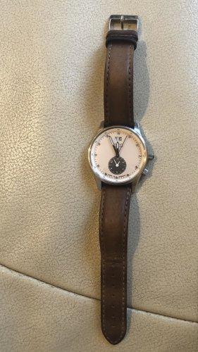 Montre avec bracelet en cuir argenté-marron clair cuir
