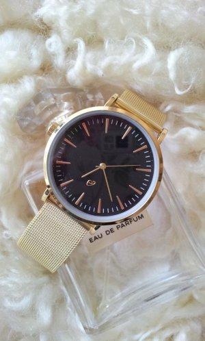 Armbanduhr aus Edelstahl, Schwarz / Gold, Milanaise-Armband, wie neu