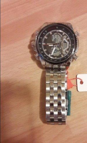 SmD Orologio con cinturino di metallo argento