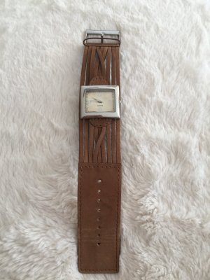TCM Watch With Leather Strap silver-colored-brown leather