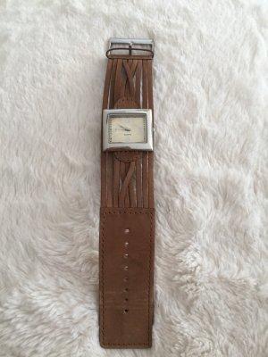 TCM Horloge met lederen riempje zilver-bruin Leer