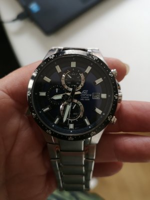 Casio Watch With Metal Strap silver-colored-blue
