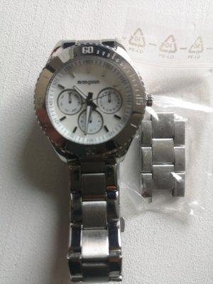 Armbanduhr Chronograph Silberf. Metallarmband