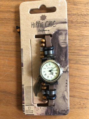 Hippie Chic Watch With Leather Strap multicolored