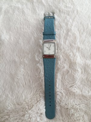 TCM Watch With Leather Strap silver-colored-petrol leather