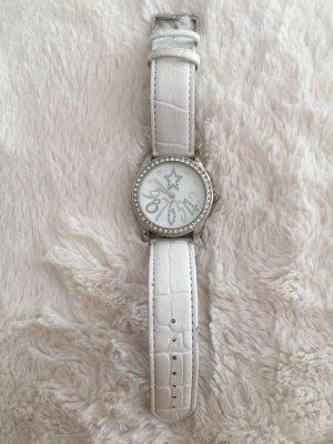 Claires Zegarek ze skórzanym paskiem srebrny-biały