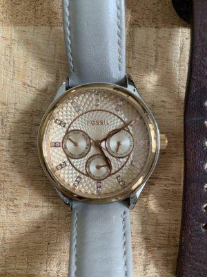 Fossil Horloge met lederen riempje goud-lichtgrijs