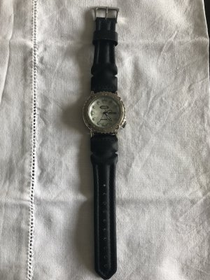 Fossil Watch With Leather Strap white-black