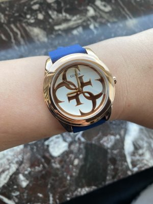 Guess Watch With Leather Strap rose-gold-coloured-blue