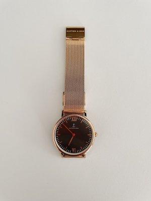 Kapten & Son Horloge met metalen riempje zwart-roodbruin