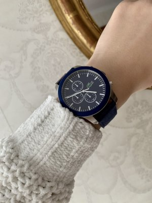 Lacoste Watch With Leather Strap blue