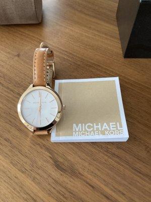Michael Kors Orologio con cinturino di pelle cognac-oro
