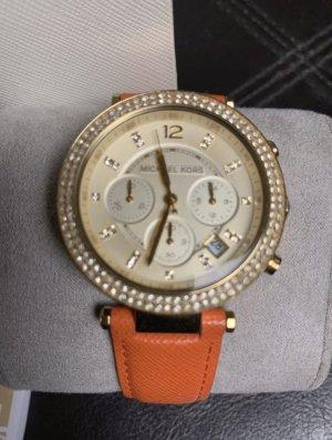 Michael Kors Reloj con pulsera de cuero naranja oscuro