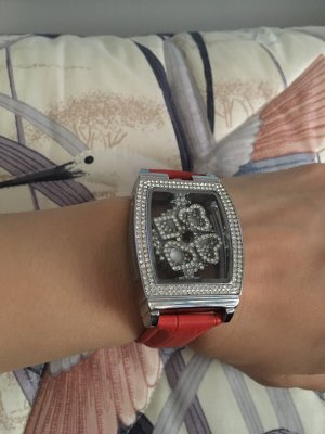 Watch With Leather Strap silver-colored-red leather