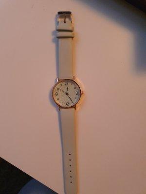 Montre avec bracelet en cuir gris clair-bleu pâle