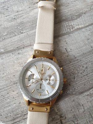 Bijou Brigitte Montre avec bracelet en cuir doré-beige clair