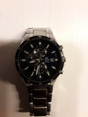 Casio Horloge met metalen riempje zilver-blauw