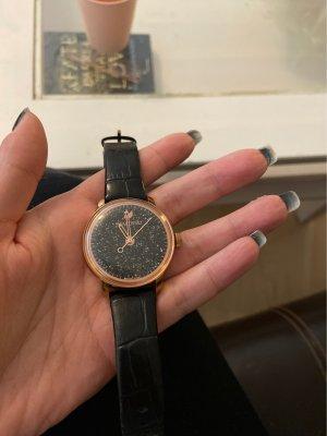 Swarovski Zegarek ze skórzanym paskiem czarny