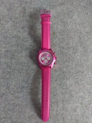 US Polo Zegarek ze skórzanym paskiem różowy