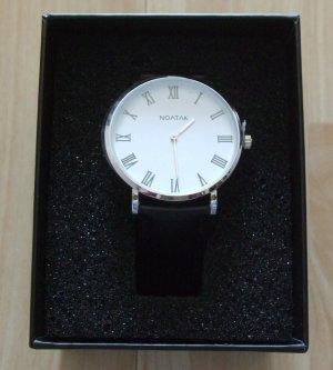 Noatak Zegarek ze skórzanym paskiem czarny-srebrny