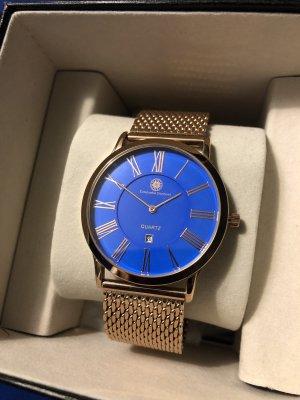 Montre avec bracelet métallique or rose-bleu