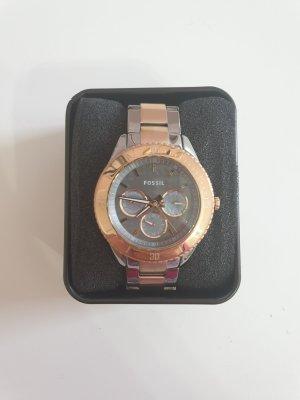 Fossil Montre avec bracelet métallique argenté-or rose