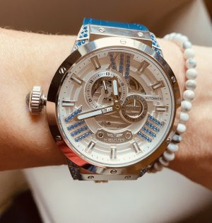 haemmer Self-Winding Watch silver-colored-blue