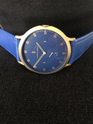 Lilienthal Berlin Zegarek ze skórzanym paskiem złoto-niebieski Skóra