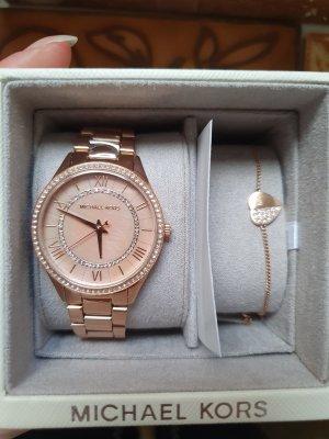 Michael Kors Zegarek z metalowym paskiem w kolorze różowego złota-złoto