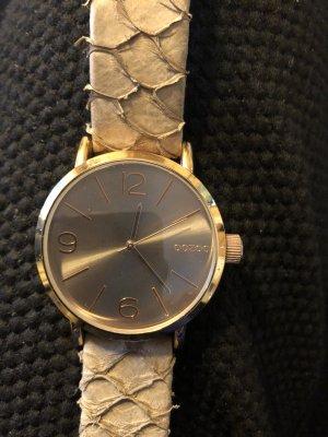 Oozoo Horloge met lederen riempje roségoud-grijs-bruin Leer