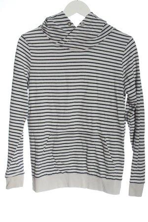 Armedangels Sweatshirt met capuchon wit-zwart gestreept patroon