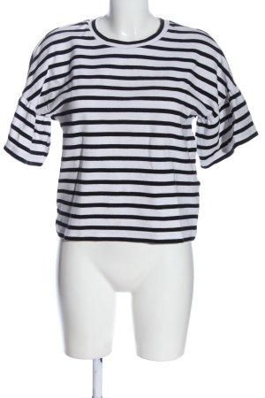 armedangels Short Sleeved Blouse black-white striped pattern casual look