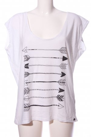 armedangels Kurzarm-Bluse weiß-schwarz Motivdruck Casual-Look