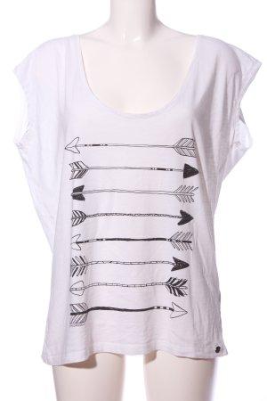 armedangels Short Sleeved Blouse white-black themed print casual look