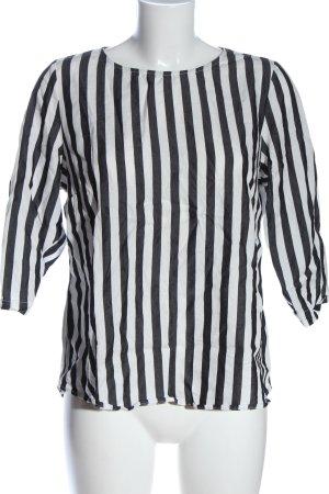 armedangels Kurzarm-Bluse weiß-schwarz Streifenmuster Casual-Look