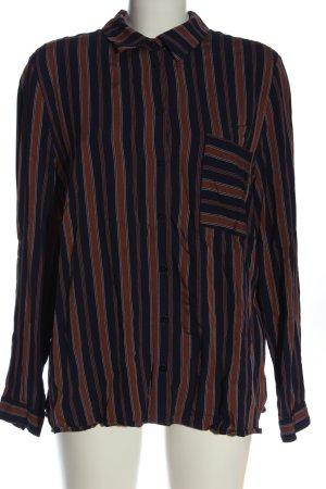 Armedangels Shirt met lange mouwen blauw-bruin gestreept patroon