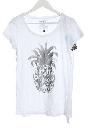Armedangels Koszulka z nadrukiem biały-jasnoszary Nadruk z motywem
