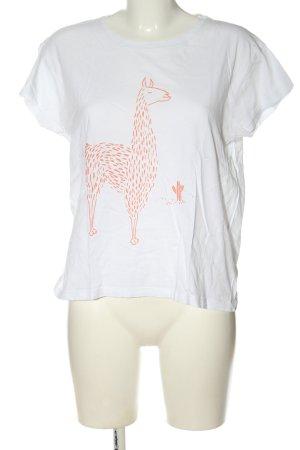 armedangels Print-Shirt weiß-hellorange Motivdruck Casual-Look