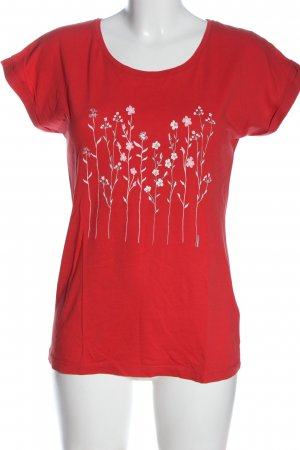 armedangels T-shirt imprimé rouge motif de fleur style décontracté