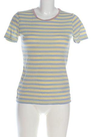 Armedangels Koszulka w paski bladożółty-niebieski Wzór w paski