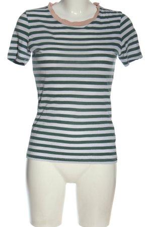 Armedangels Koszulka w paski zielony-biały Wzór w paski W stylu casual